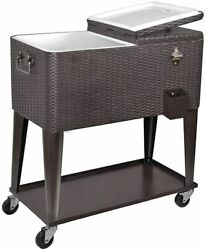 80quart Rolling Cooler Ice Chest Cart For Outdoor Patio Party Rattan Tub Trolley