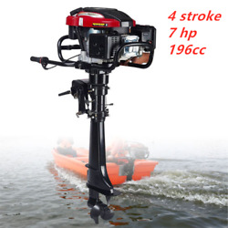7hp 4 Stroke Outboard Motor Boat Engine W/ Air Cooling System Hand Start 196cc