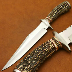 Custom Hand Made D2 Bowie Hunting Knife - Fighter Knife - Stag Antler Handle