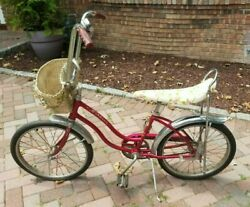 Vintage 1970and039s Schwinn Fair Lady Sting-ray Muscle Bike Banana Seat/basket And Bell