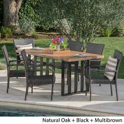 Lima Outdoor Wicker Light Weight Concrete Dining Set By