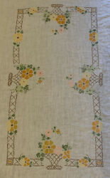 Vintage Hand Cross Stitched Embroidered Flower Basket Linen Tablecloth 65quot;