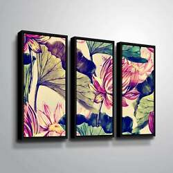 Artwall And039water Lilyand039 3 Piece Floater Framed Canvas Set Extra Large