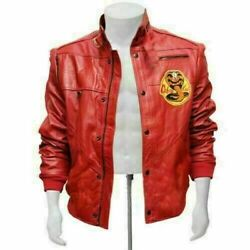 The Karate Kid Cobra Kai Johnny Lawrence Red Bomber Cow Leather Jacket For Men