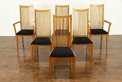 Set Of 6 Italian Vintage Midcentury Modern Oak Chairs, Signed Potocco 38637