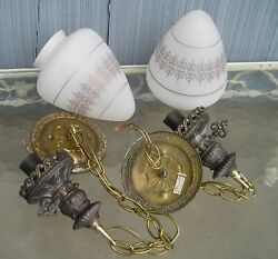 Vintage Double Globe Mid Century Modern Swag Style Light Lamp Period Shades
