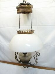 Antique Victorian Domed Milk Glass Shade Hanging Oil Lamp Parlor Fluid Light