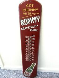 Vintage Advertising Rare Rummy Soda Large  Tin Store Thermometer M-503