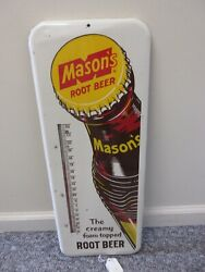 Vintage Advertising Mason's Root Beer Soda Tin Store Thermometer 123-q