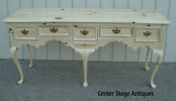60843 Link Taylor Large Pine Queen Anne White Wash Buffet Sideboard Cabinet