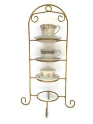Four-tier Gold Sprayed Metal Tea Cup And Saucer Display Stand Holder