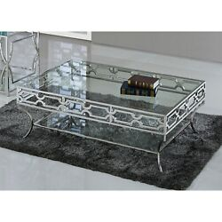 Best Master Furniture Stainless Steel Glass Coffee Table Silver, Clear Transitio
