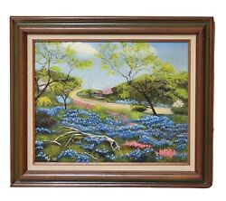 1989 Original Oil Painting Beautiful Texas Bluebonnets Signed By Mly And Framed