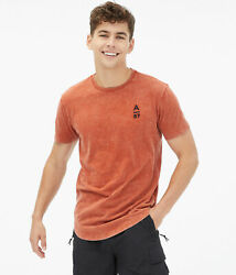 Aeropostale Mens A87 Marble Wash Curved Hem Graphic Tee