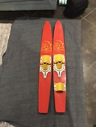 Vintage Pair Liland039 Rascal Child Youth Wood Water Skis 47 Inches Lake Region