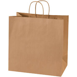 Brown Kraft Mailers Shopping Bags With Handles 13 X 7 X 13 Inches - 2500 Pack