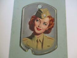 Antique Ww2 Vintage Wpa Era Painting Pinup Girl Military Dog Tag Large Mystery