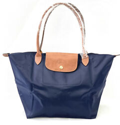 New Longchamp Le Pliage Classic Tote Bag L Navy Blue 1899 Made In France