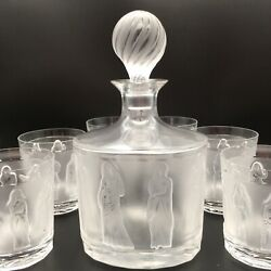 Vintage Lalique Femmes Decanter With Six Femmes Tumblers In Excellent Condition