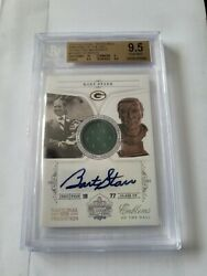Bart Starr National Treasures Emblems Hall Fame Game Used Jersey Auto Bgs 9.5 10