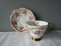 Eb Foley 1850 Light Pink W/roses Gold Accents And Trim Tea Cup And Saucer England
