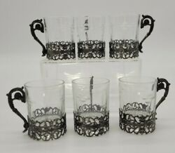Etched Glass Shotglass Shot Glass Metal Silver Tone Overlay With Handle Set Of 6