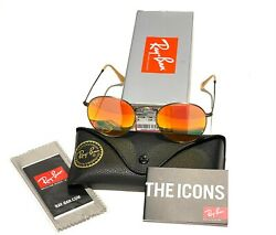 Ray-ban Rb3447 Round Metal 167/2k Red Flash Lens With Bronze Frame 50mm