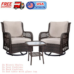 3 Pieces Outdoor Patio Wicker Furniture Sets Swivel Chairs Garden Dining Table