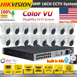 Hikvision 4mp Colorvu Built In Mic Full Color 16ch 16poe Cctv System P2p Ir Lot