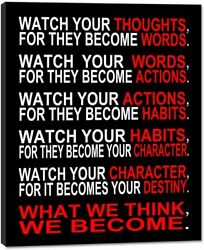Watch Your Thoughts Motivational Classroom Poster Modern Canvas Prints Wall Art