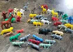 Lot Of 45 Vintage Plastic Animals Variety Wild Forest Jungle Played With
