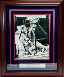 President George H. W. Bush Signed Autographed 11x14 Photo Beckett Bas Framed