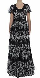 Dolce And Gabbana Dress Silk Floral Lace Ricamo Ball Maxi It40 / Us6 / S