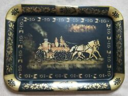 Vintage Tole Tray Unique Horse Drawn Fire Engine Black And Gold Motif 17