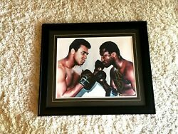 Cassius Clay Muhammad Ali Joe Frazier Autographed Signed Print Photograph Photo