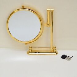 Ocean Yachts Round 8 Inch Gold Stainless Steel Marine Boat Vanity Table Mirror
