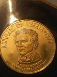 1977 Liberia 100 Gold Fm Proof Coin With Wallet And Documentation. 130yr Annive