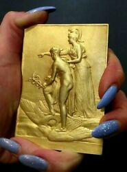 Hermes And Athena Olympic Gods French Art Nouveau Gold Pl.silver Medal Pillet
