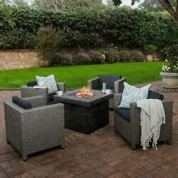 Puerta Outdoor 4-piece Wicker Chair Set With Square Firepit