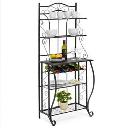 5 Tier Kitchen Bakers Cookware Storage Rack Rolling Microwave Oven Stand Shelf