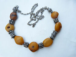 Antique Rare Moroccan Natural Amber Beads Necklace Yemen Silver Beads