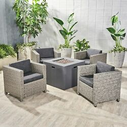 Maxwell Outdoor 4 Piece Club Chair Set With Square Fire Pit