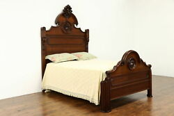 Victorian Antique Walnut Full Of Double Size Bed Hand Carved Fruit 37497