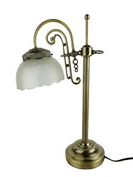 Vtg Classic Brass Single Arm Student Lamp Frosted Glass Shade Adjustable Angle