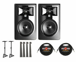 2x Jbl 306p Mkii Active Speaker Powered Studio Monitor +stands +mopads +cables
