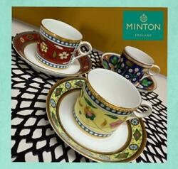 Minton Contrasts Cap And Saucer Set Of 3 With Box Red Yellow Blue Royal Doulton
