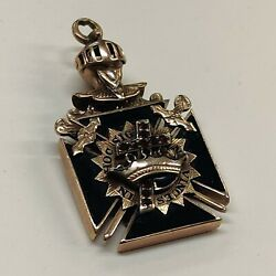 Vintage 14k Yellow Gold Knights Templer Mason Pendant With Rubies Onyx 12.5 Gram