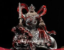 Chinese Purple Clay Dehua Porcelain Pottery God Of Wealth Tiger Mammon Sculpture