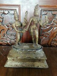 Old Antique Rare Bronze Asian Man And Woman Statue Figurine For Home Decor