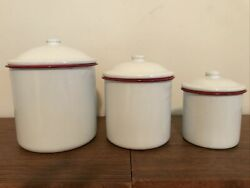 3 Vintage White With Red Edge Enamel Ware Kitchen Container With Lid